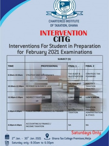 Interventions for Student in Preparation for February 2021 Examination.